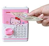 """Дитячий сейф скарбничка з кодом паролем для грошей Рожева кіті"""" hello kitty дитяча музична скарбничка, фото 5"""