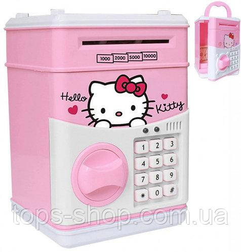 """Дитячий сейф скарбничка з кодом паролем для грошей Рожева кіті"""" hello kitty дитяча музична скарбничка"""