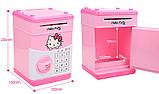"""Дитячий сейф скарбничка з кодом паролем для грошей Рожева кіті"""" hello kitty дитяча музична скарбничка, фото 6"""