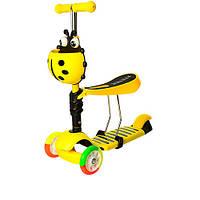 Детский трехколесный самокат-беговел JR 3-054-H с багажником до 40 кг  (Желтый)