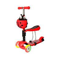 Детский трехколесный самокат-беговел JR 3-054-H с багажником  до 40 кг (Красный)