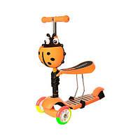 Детский трехколесный самокат-беговел JR 3-054-H с багажником до 40 кг (Оранжевый)
