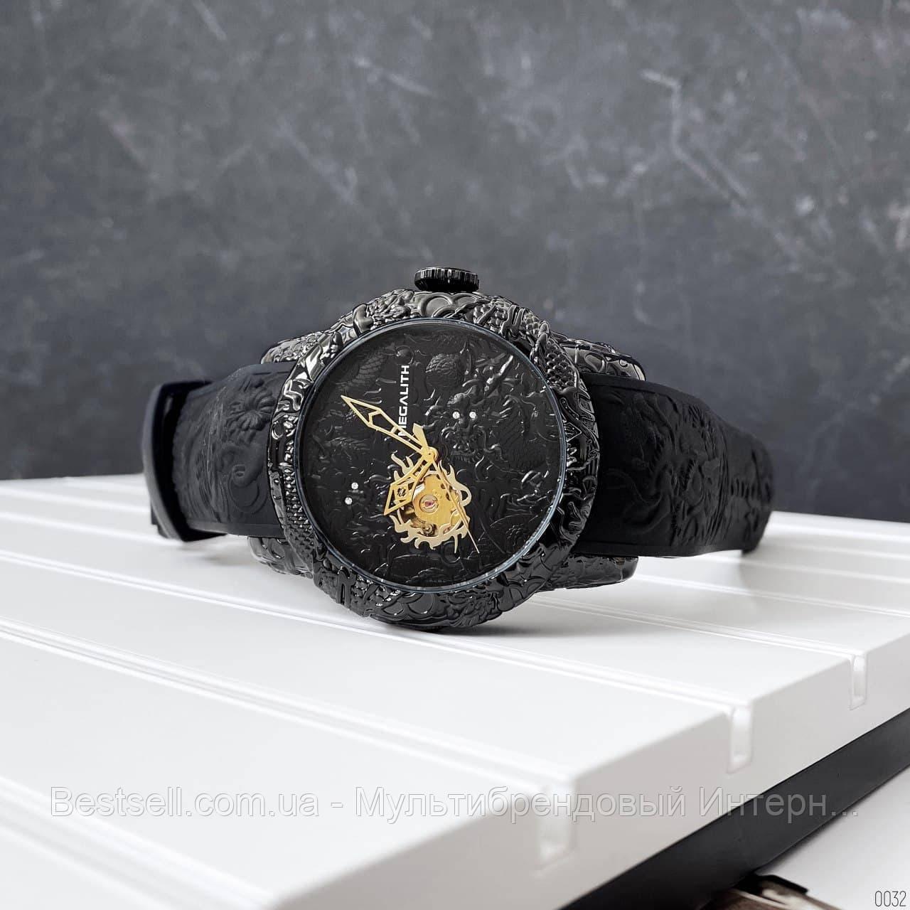 Часы оригинальные мужские наручные механические с автоподзаводом Megalith 8041MA Black-Gold Dragon Sculpture