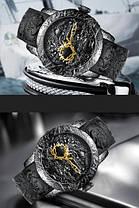 Часы оригинальные мужские наручные механические с автоподзаводом Megalith 8041MA Black-Gold Dragon Sculpture, фото 2