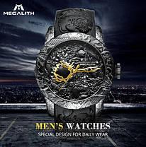 Часы оригинальные мужские наручные механические с автоподзаводом Megalith 8041MA Black-Gold Dragon Sculpture, фото 3