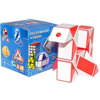 Головоломка Змійка Розумний кубик біло-червона