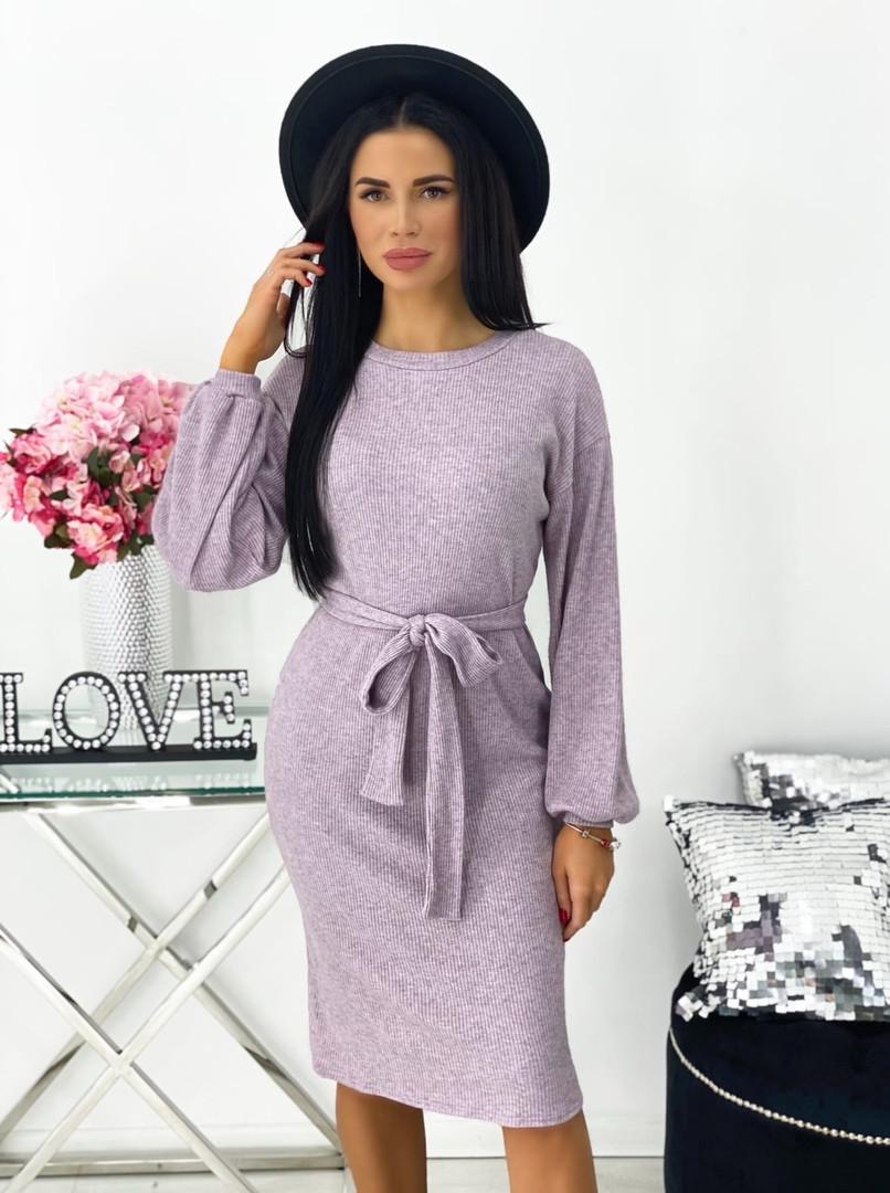 Женское платье под поясок длинный рукав