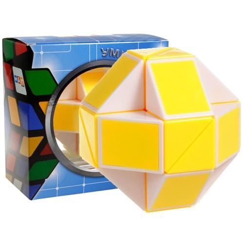 Головоломка Розумний кубик Змійка біло-жовта в коробці