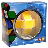 Головоломка Розумний кубик Змійка біло-жовта в коробці, фото 6