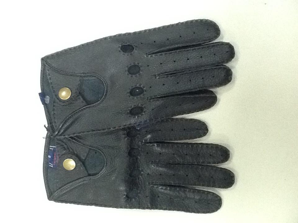Перчатки кожаные черные мужские на кнопке без подкладки