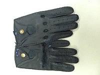 Перчатки кожаные черные мужские на кнопке без подкладки, фото 1