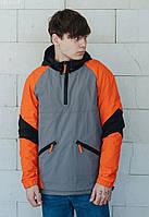 Анорак Staff colorblock orange серый/оранжевый/чёрный LBL0155 S, 46