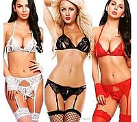 Эротическое женское бельё комплект сексуального белья с поясом с чулками трусики стринги с открытым доступом