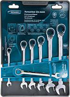 Набор ключей комбинированных с трещоткой, 8 - 19 мм, 7шт., реверсивные, CrV// GROSS 14892