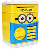 Дитячий сейф скарбничка Міньйон з кодом скарбничка для грошей дитяча музична Сейф банкомат Міньйон, фото 4