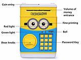 Дитячий сейф скарбничка Міньйон з кодом скарбничка для грошей дитяча музична Сейф банкомат Міньйон, фото 6