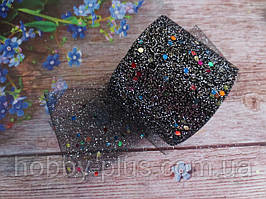 Фатин-сетка с мелкими блестками и пайетками, ширина 55 мм, (цвет черный), 1 рулон, 15 ярдов