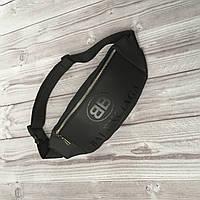 Стильная сумка-бананка из турецкой эко-кожи, молодежная напоясная сумка, цвет черный