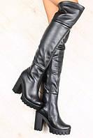 Ботфорты кожаные на удобном каблуке 37