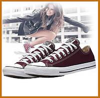 Кеды низкие конверс Converse ALL STAR повседневные, кроссовки бордовые (35-46р)