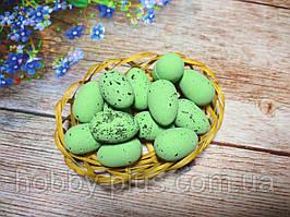 Великодній декор, яйця перепелині 3 см, (пінопластові), колір зелений, 5 шт