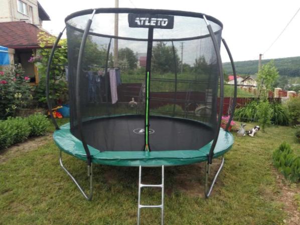 Детский батут Atleto 312 см для взрослых и детей с внутренней защитной сеткой садовий для дома и дачи
