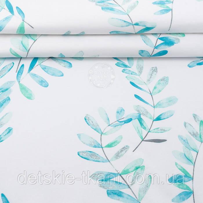 """Поплін шириною 240 см """"Велике листя акації"""" м'ятно-бірюзове на білому тлі (№3309)"""