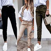 Брюки-джоггеры женские, модные, повседневные, стильные, молодежные, с карманами, до 48 р