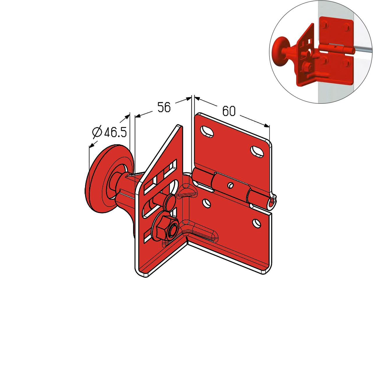 Кронштейн роликовий бічній Alutech RBG700L-SS