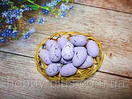 Великодній декор, яйця перепелині 3 см, (пінопластові), колір БУЗКОВИЙ, 5 шт
