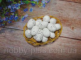 Великодній декор, яйця перепелині 3 см, (пінопластові), колір БІЛИЙ, 5 шт