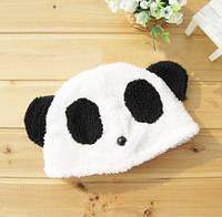 Шапка панда бело черная