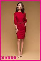 Стильное классическое красное платье миди с прорезными карманами. Деловое красное платье по колено.