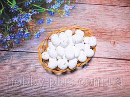 Великодній декор, яйця перепелині-міні 2 см, (пінопластові), колір БІЛИЙ, 10 шт