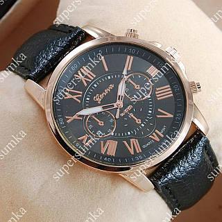 Элегантные наручные часы Geneva Gold/Black 1020
