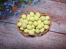 Великодній декор, яйця перепелині-міні 2 см, (пінопластові), колір ЛИМОННИЙ, 10 шт