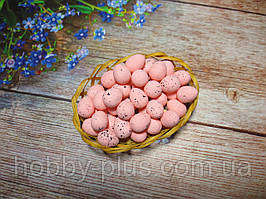 Великодній декор, яйця перепелині-міні 2 см, (пінопластові), колір РОЖЕВИЙ, 10 шт