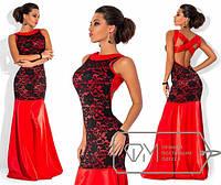 Платье молодежное королевский атлас+гипюр