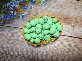 Великодній декор, яйця перепелині-міні 2 см, (пінопластові), колір ЗЕЛЕНИЙ, 10 шт