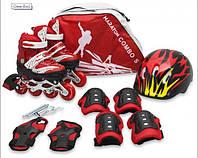 Комплект детских раздвижных роликов с защитой Maraton Combo (красный)