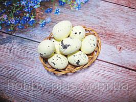Великодній декор, яйця перепелині 3,5 см, (пінопластові), колір ЛИМОННИЙ 1 шт
