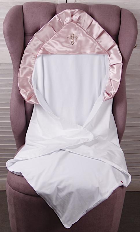 Крыжма для крещения 90х90 с розовым уголком Велена