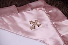 Крыжма для крещения 90х90 с розовым уголком Велена, фото 3