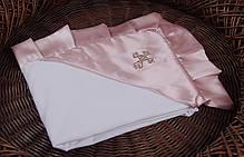 Крыжма для крещения 90х90 с розовым уголком Велена, фото 2