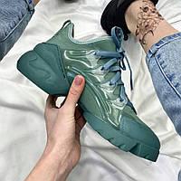 Женские кроссовки Dior D connect Green | Диор Д конект зеленые, фото 1