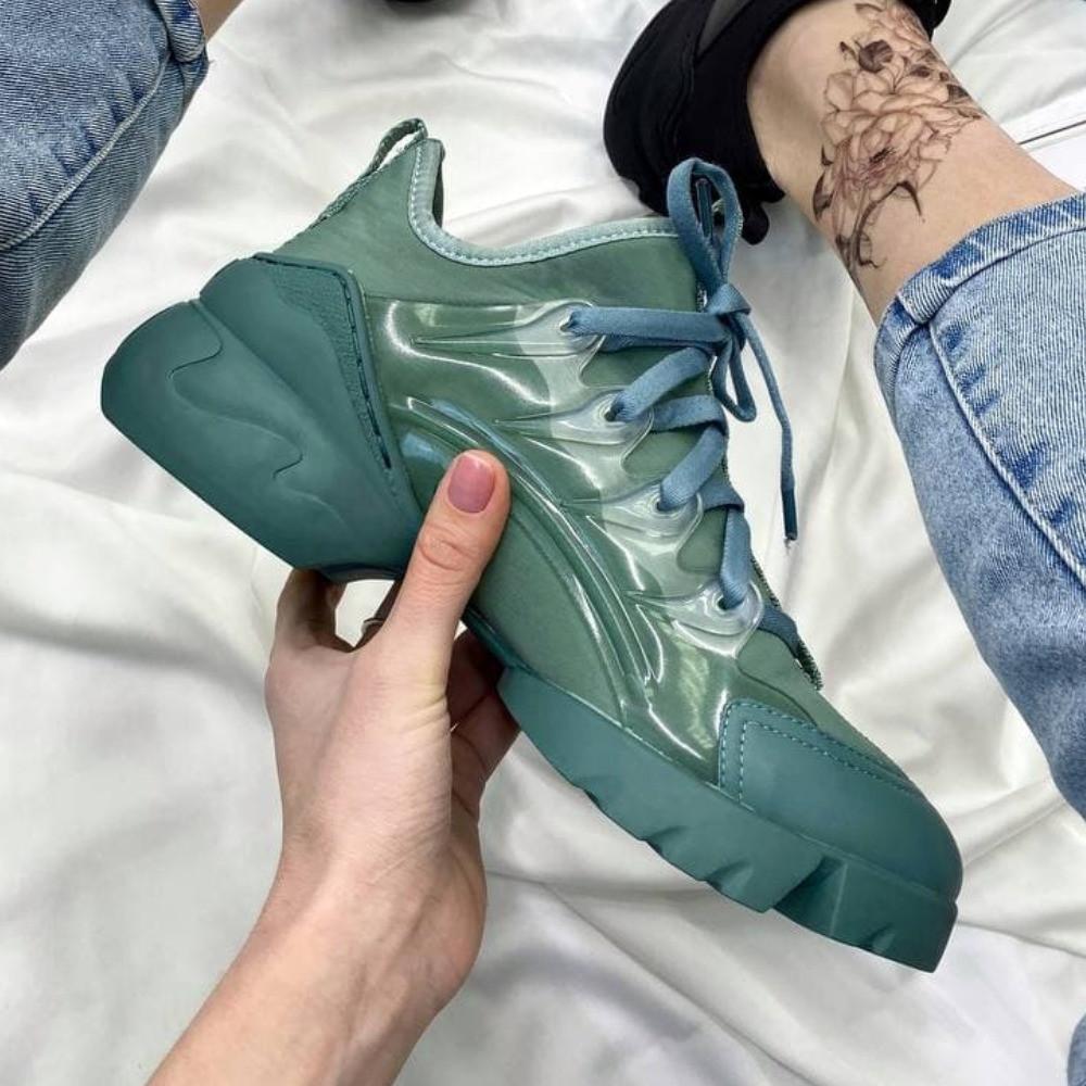 Женские кроссовки Dior D connect Green | Диор Д конект зеленые