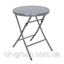 Розкладний стіл для балкона круглий скляний Bisrto D60