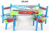 Детский столик и 2 стульчика Машинки TD-018