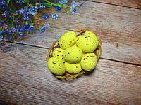 Пасхальный декор, яйца перепелиные 3,5 см, (пенопластовые), цвет ЖЕЛТЫЕ, 1 шт
