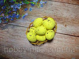 Великодній декор, яйця перепелині 3,5 см, (пінопластові), колір ЖОВТІ, 1 шт
